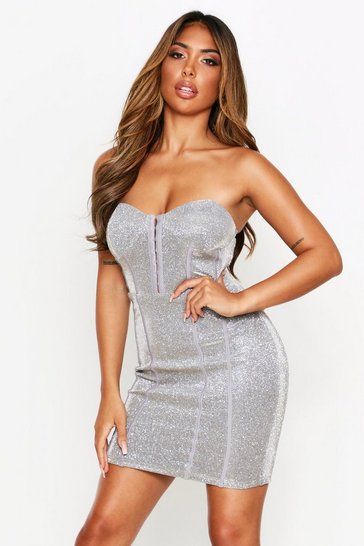 Womens Gold Bandeau Metallic Mini Dress