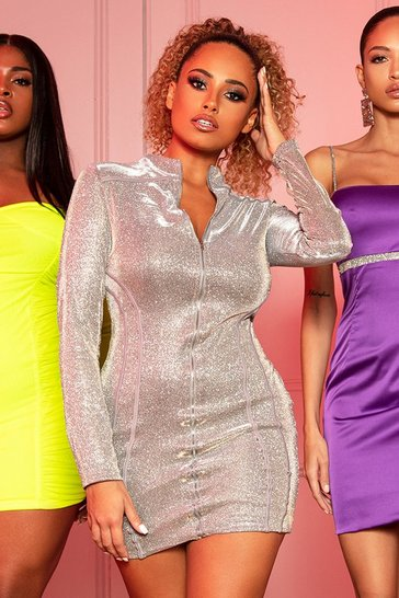 Womens Gold Metallic Zip Through Mini Dress