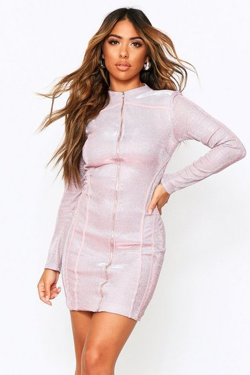Womens Pink Metallic Zip Through Mini Dress