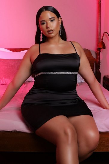 Womens Black Satin Double Mini Trim Dress