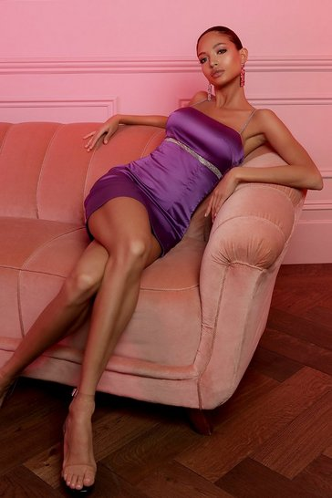 Purple Satin Double Mini Trim Dress