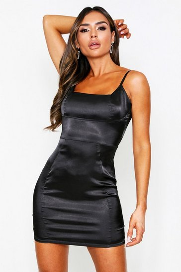 Womens Black Seam Detail Satin Square Neck Dress