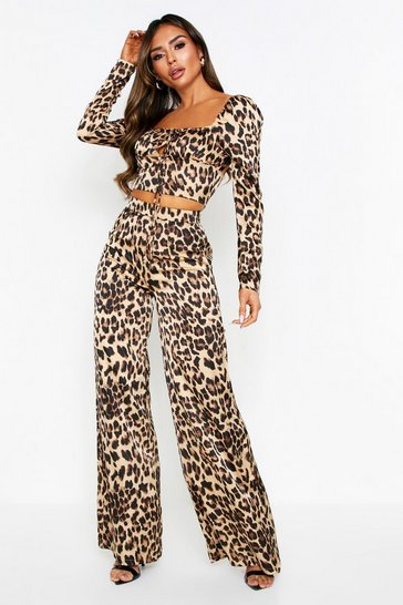 Womens Brown Leopard Print Satin Wide Leg Trousers