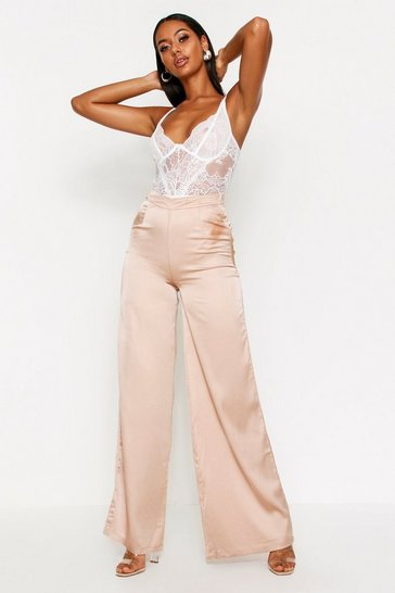 Womens Taupe Satin High Waisted Wide Leg Trousers