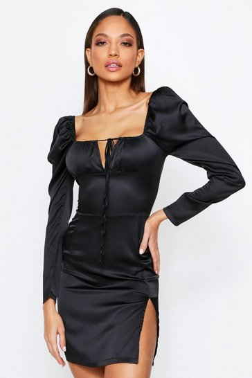 Womens Black Tie Front Puff Shoulder Satin Dress