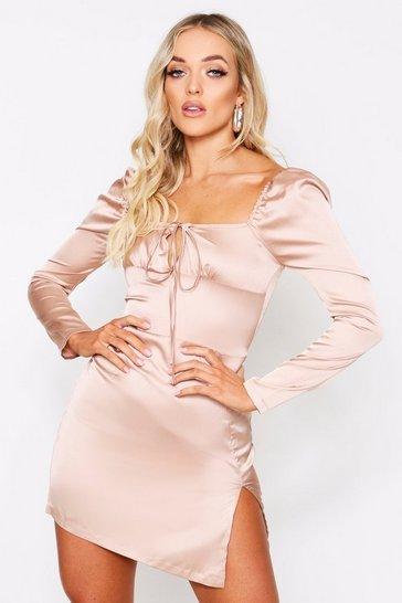 Womens Taupe Tie Front Puff Shoulder Satin Dress