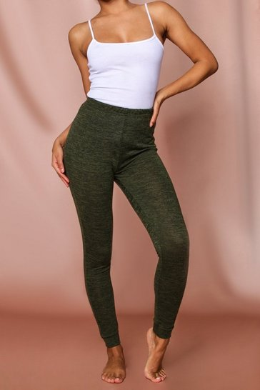 Khaki Melange High Waisted Knit Jogger