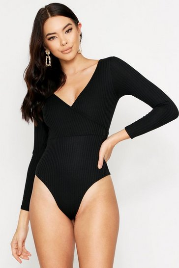 Womens Black Ribbed Tie Front Plunge Bodysuit