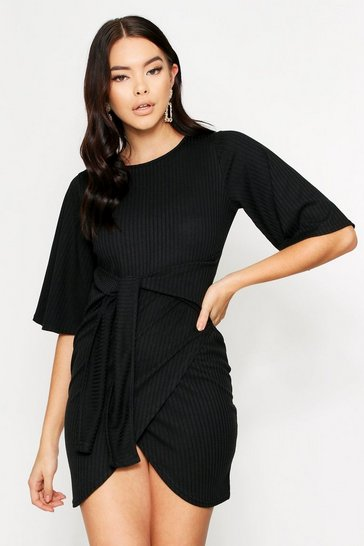 Womens Black Ribbed Tie Front Wrap Dress