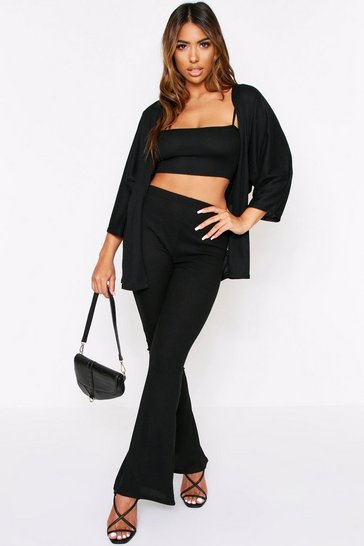 Black Ribbed Strappy Crop Top & Wide Leg Cardigan Set