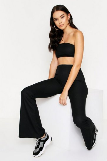 Womens Black Ribbed Bandeau & Wide Leg Co-Ord