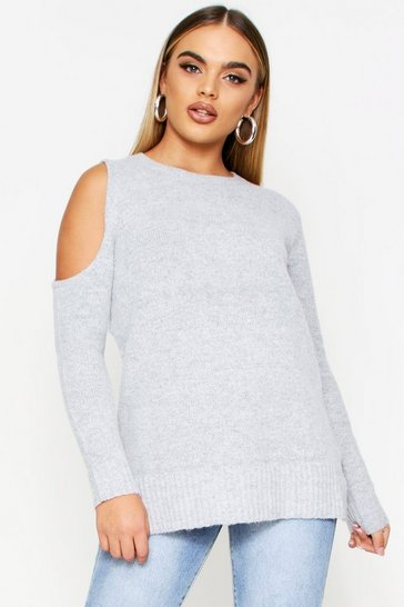 Womens Grey One Shoulder Longline Jumper
