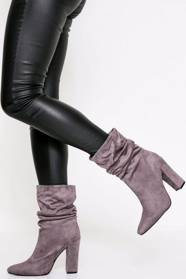 Grey Faux Suede Ruched Heeled Boot