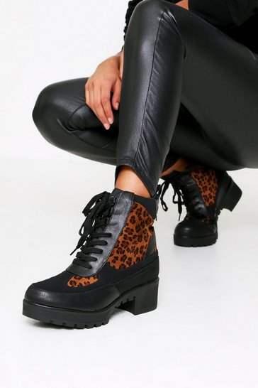 Womens Black Chunky Lace Hiker Boot Leopard