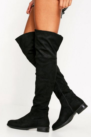 Black Suedette Faux Fur Lined Flat High Boot