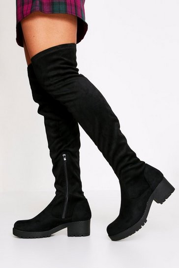 Black Cleated Block Heel Suedette Thigh Boot
