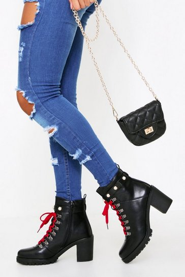 Womens Black Pearl Trim Chunky Cleated Lace Up Boot
