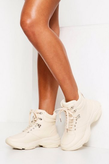 Womens Beige Chunky High Top Trainer Boot PU