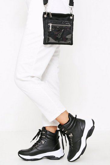 Black Chunky High Top Sneakers Boot Pu