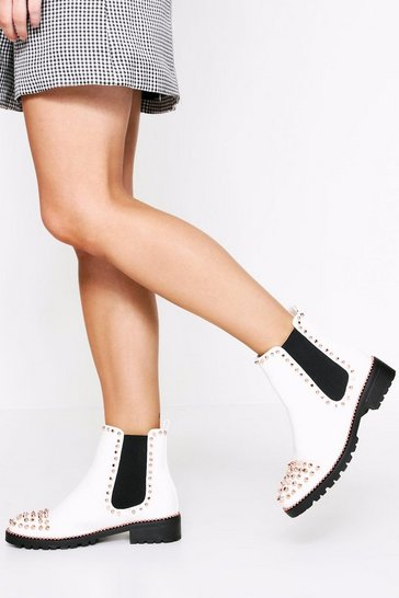 White Patent Chelsea Studded Boot