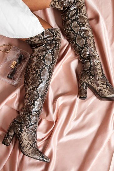 Brown Snakeskin Thigh High Textured Boot