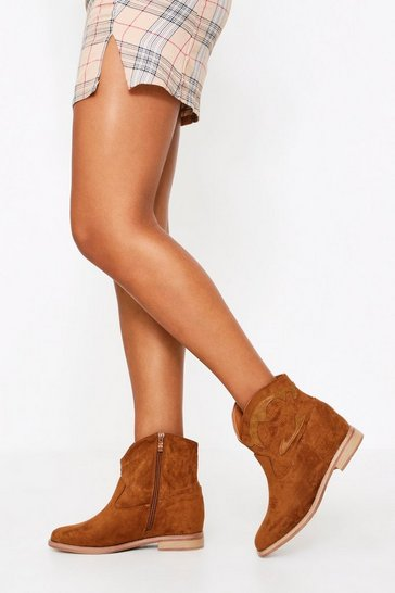 Womens Tan Short Ankle Suedette Cowboy Boot