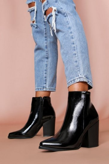 Black Textured Patent Pointed Boot