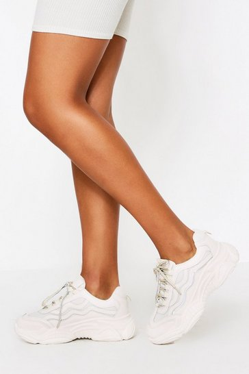 Womens Beige Chunky Mesh Detail Trainer
