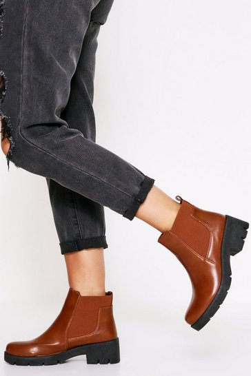 Tan Chunky Sole Chelsea Boot