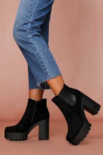 Black Suedette Cleated Sole Heeled Chelsea Boot