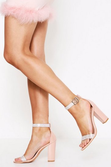 Womens Nude Diamante Straps Heel