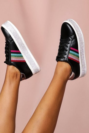 Black Diamante Sole Lace Up Trainer