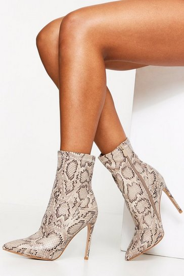 Womens Stone Snake Textured PU Sock Boot