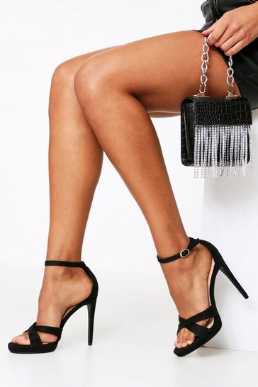 Black Cross Over Toe Suedette Heel