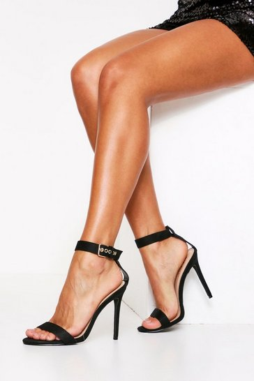 Black 2 Part Suedette Buckle Ankle Strap Heel