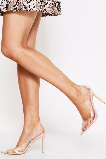 Nude Clear heeled court shoes
