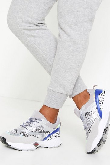 Womens Silver Snake Mix Metallic Chunky Trainer