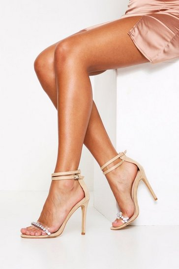 Nude Diamante 2 Part Heel