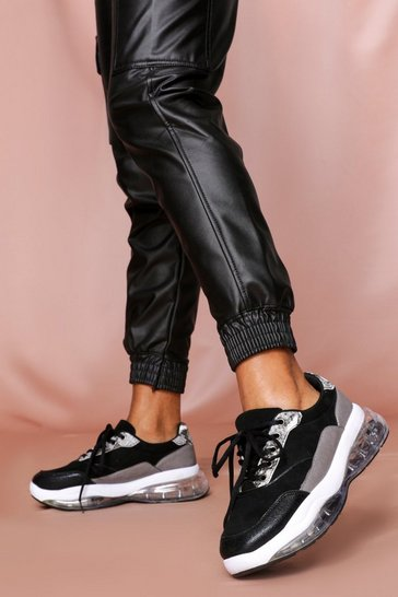 Womens Black Chunky Trainer