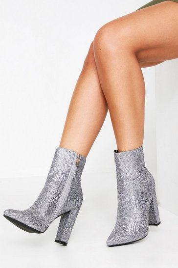 Silver Diamante Ankle Block Heel Boot