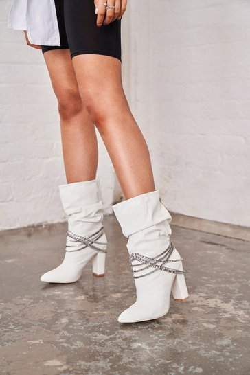 Womens White Ruched Boot With Chain Detail