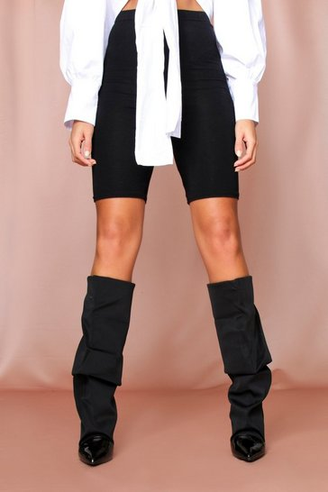 Black Knee High Stretch Ruched Sock Boot