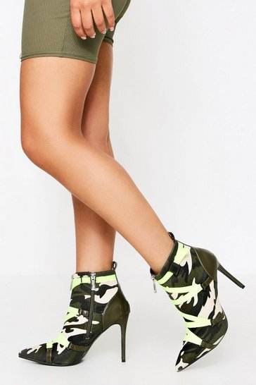 Khaki Camo Buckle Neon Lace Boot