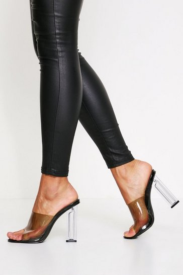 Black Clear block heeled mules