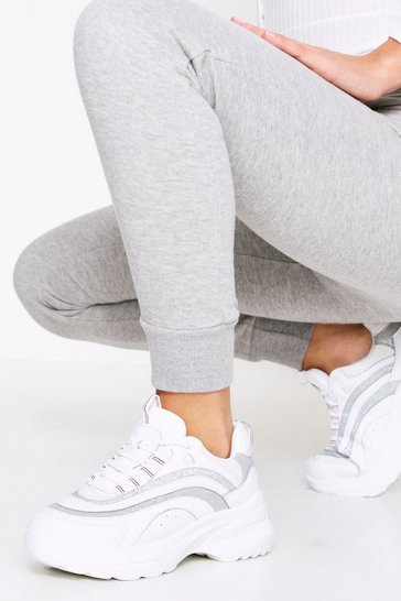 Silver Sparkle Trim Chunky Trainer