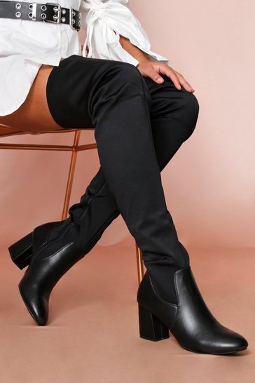 Black Stretch Heeled Thigh Boot