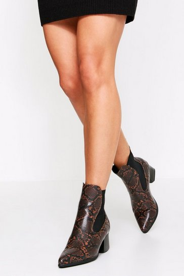 Womens Brown Snake Print Chelsea Boot