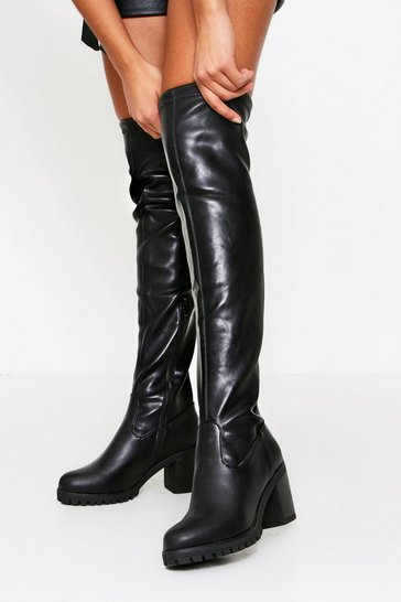 Black Cleated Sole Chunky Thigh Boot PU