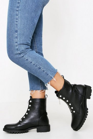 Womens Black Pearl Detail Zip Biker Boot