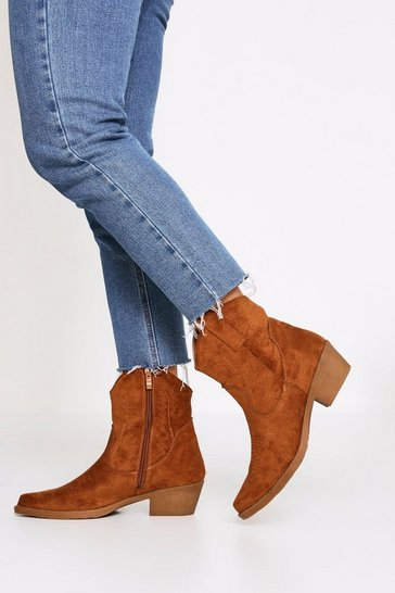 Womens Tan Suedette Cowboy Ankle Boot